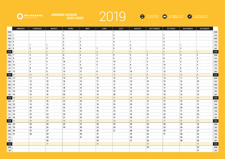 Yearly Wall Calendar Planner Template for 2019 Year. Vector Design Print Template. Week Starts Monday