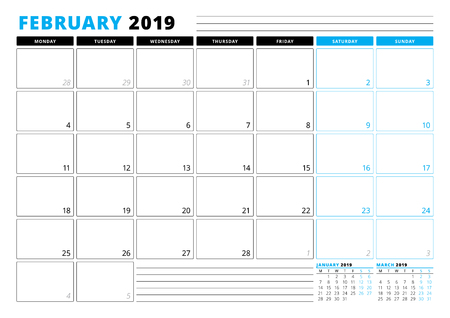 Calendar Template for February 2019. Business Planner Template. Stationery Design. Week starts on Monday. 3 Months on the Page. Vector Illustration
