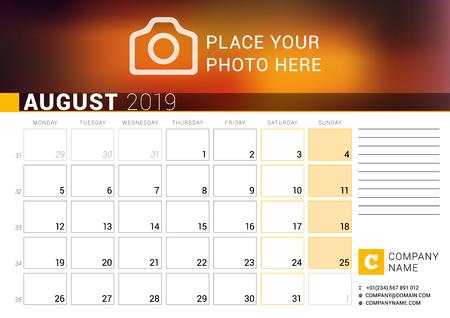 Calendar for August 2019. Vector Design Print Template with Place for Photo, Logo and Contact Information. Week Starts on Monday. Calendar Grid with Week Numbers and Place for Notes