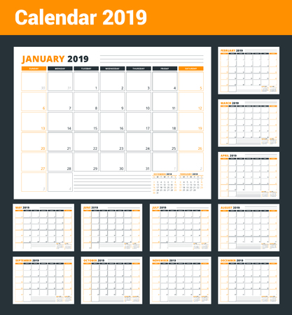 Calendar Template for 2019 year. Business Planner Template. Stationery Design. Week starts on Sunday. Landscape orientation. Vector Illustration Zdjęcie Seryjne - 102988340