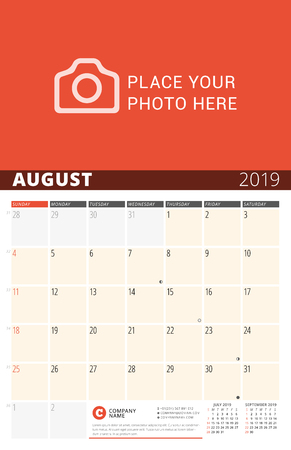 Wall Calendar Planner for 2019 Year. Vector Design Print Template with Place for Photo and Notes. Phases of the Moon. Week Starts on Sunday. 3 Months on Page. August 2019