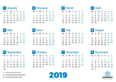 Simple calendar template for 2019 year. Week starts on Monday. Vector illustration Illusztráció