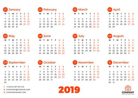 Modello di calendario semplice per l'anno 2019. La settimana inizia il lunedì. Illustrazione vettoriale Vettoriali