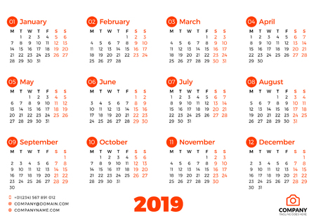 Simple calendar template for 2019 year. Week starts on Monday. Vector illustration Çizim