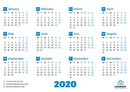 Prosty szablon kalendarza na rok 2020. Tydzień zaczyna się w poniedziałek. Ilustracja wektorowa