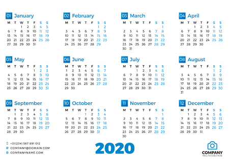 Simple calendar template for 2020 year. Week starts on Monday. Vector illustration