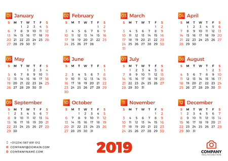 Simple calendar template for 2019 year. Week starts on Sunday. Vector illustration