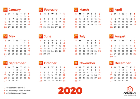 Simple calendar template for 2020 year. Week starts on Sunday. Vector illustration