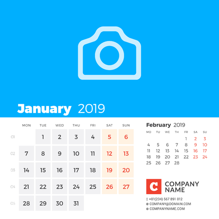 January 2019. Calendar for 2019 year. Week starts on Monday. 2 months on page. Vector design print template with place for photo and company information