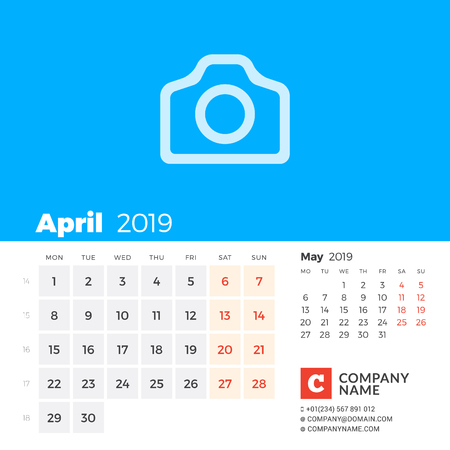 April 2019. Calendar for 2019 year. Week starts on Monday. 2 months on page. Vector design print template with place for photo and company information Illustration