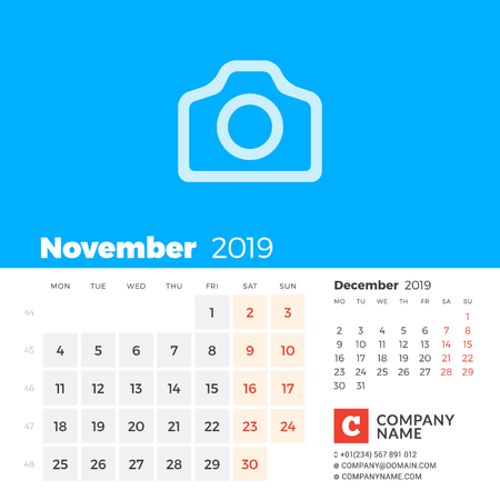 November 2019. Calendar for 2019 year. Week starts on Monday. 2 months on page. Vector design print template with place for photo and company information