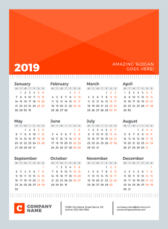 Calendario para el año 2019. La semana comienza el lunes. Plantilla de calendario de diseño vectorial para cartel, flayer, tarjeta Ilustración de vector