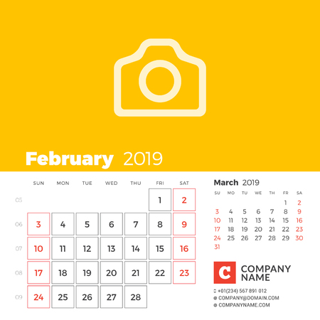 February 2019. Calendar for 2019 year. Week starts on Sunday. 2 months on page. Vector design print template with place for photo and company information
