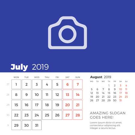 July 2019 desk calendar page. Week starts on Monday. Vector design print template