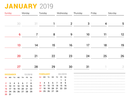 Calendar template for January 2019. Business planner. Stationery design. Week starts on Sunday. 2 Months on the page. Vector illustration