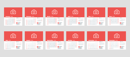 Calendar template for 2019 year. Set of 12 months. January, February, March, April, May, June, July, August, September, October, November, December. Stationery design