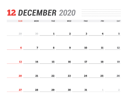 Calendar December 2020.Calendar Template For December 2020 Business Planner Stationery