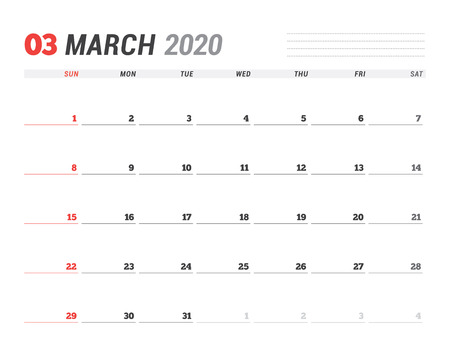 Calendar template for March 2020. Business planner. Stationery design. Week starts on Sunday
