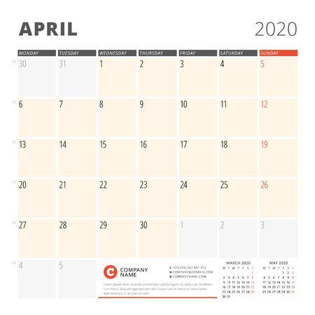 Calendar planner for April 2020. Stationery design template. Week starts on Monday. 3 months on the page. Vector illustration Illustration