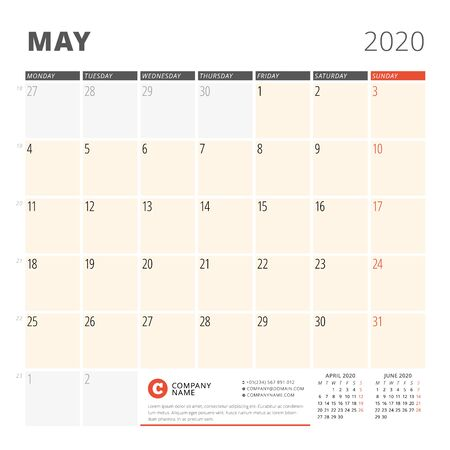 Calendar planner for May 2020. Stationery design template. Week starts on Monday. 3 months on the page. Vector illustration