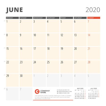 Calendar planner for June 2020. Stationery design template. Week starts on Monday. 3 months on the page. Vector illustration