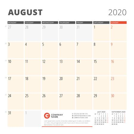 Calendar planner for August 2020. Stationery design template. Week starts on Monday. 3 months on the page. Vector illustration