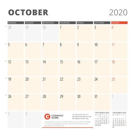 Calendar planner for October 2020. Stationery design template. Week starts on Monday. 3 months on the page. Vector illustration Illustration