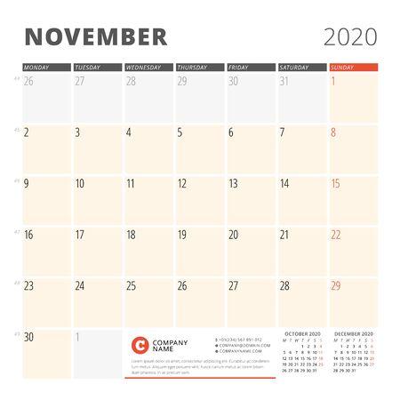 Calendar planner for November 2020. Stationery design template. Week starts on Monday. 3 months on the page. Vector illustration Illustration