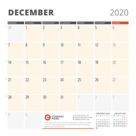 Calendar planner for December 2020. Stationery design template. Week starts on Monday. 3 months on the page. Vector illustration Illustration