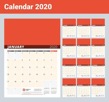 Calendario da parete per l'anno 2020. Modello di stampa di disegno vettoriale con posto per foto e note. Fasi della luna. La settimana inizia il lunedì. Set di 12 mesi Vettoriali