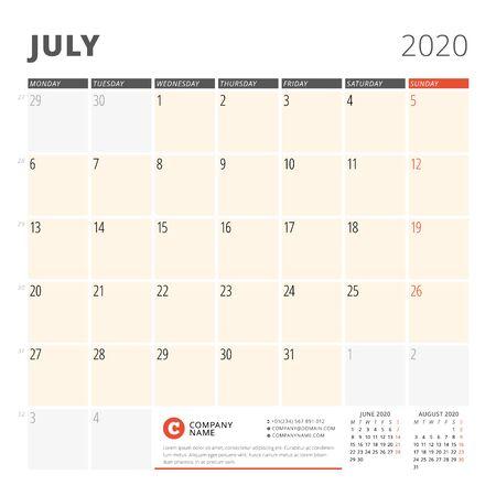 Calendar planner for July 2020. Stationery design template. Week starts on Monday. 3 months on the page. Vector illustration Illustration