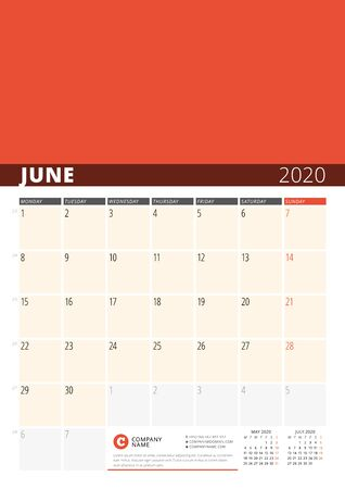 Wall Calendar Planner for 2020 Year. Vector Design Print Template with Place for Photo. Week Starts on Monday. 3 Months on Page. June 2020 Ilustração