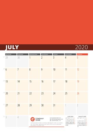 Wall Calendar Planner for 2020 Year. Vector Design Print Template with Place for Photo. Week Starts on Monday. 3 Months on Page. July 2020