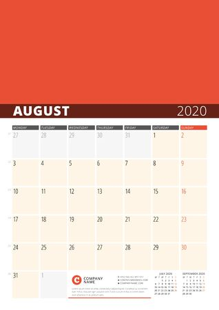 Wall Calendar Planner for 2020 Year. Vector Design Print Template with Place for Photo. Week Starts on Monday. 3 Months on Page. August 2020
