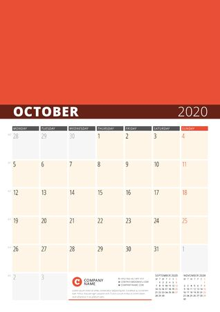 Wall Calendar Planner for 2020 Year. Vector Design Print Template with Place for Photo. Week Starts on Monday. 3 Months on Page. October 2020