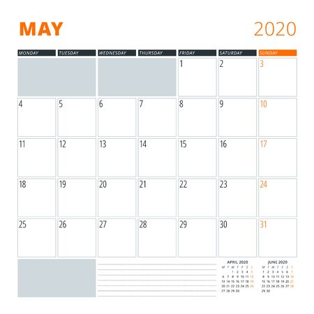 Calendar for May 2020. Stationery design template. Vector illustration