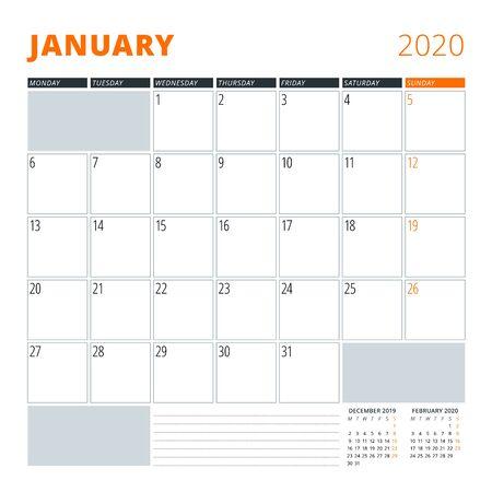 Calendar for January 2020. Stationery design template. Vector illustration
