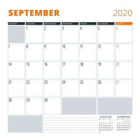 Calendar for September 2020. Stationery design template. Vector illustration