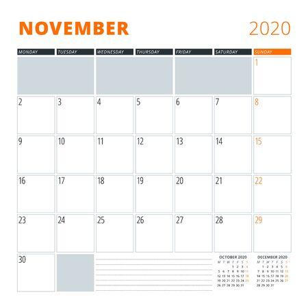 Calendar for November 2020. Stationery design template. Vector illustration