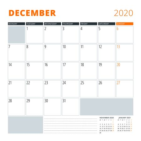 Calendar for December 2020. Stationery design template. Vector illustration