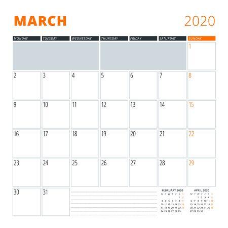 Calendar for March 2020. Stationery design template. Vector illustration Ilustração