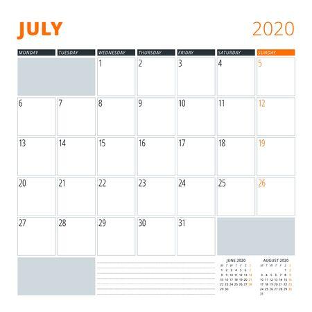 Calendar for July 2020. Stationery design template. Vector illustration Illustration