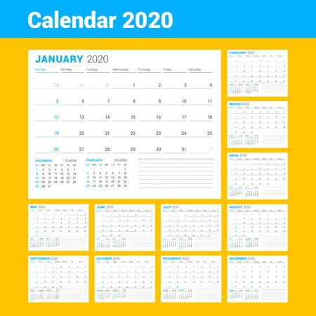 Calendar template for 2020 year. Business planner. Stationery design. Week starts on Sunday. Vector illustration Vettoriali