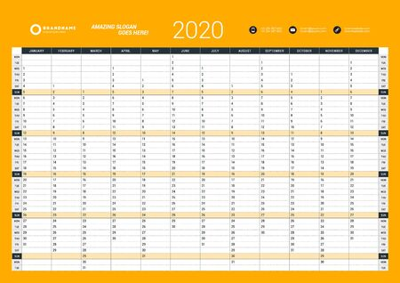 Jahresplaner-Vorlage für den Wandkalender für 2020. Vektor-Design-Druckvorlage. Woche beginnt am Montag