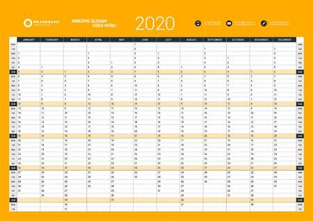 Plantilla de planificador anual de calendario de pared para 2020. Plantilla de impresión de diseño vectorial. La semana comienza el lunes
