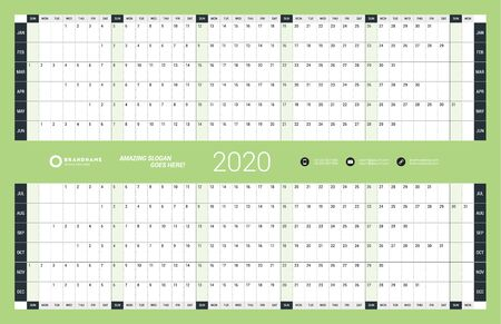 Wall calendar yearly planner template for 2020. Vector design print template. Week starts on Sunday Ilustração