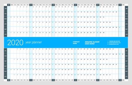 Wall calendar yearly planner template for 2020. Vector design print template. Week starts on Sunday