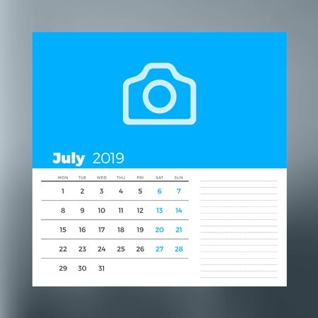 Calendar planner template for July 2019. Design print vector template