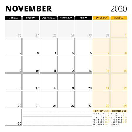 Calendar planner for November 2020. Stationery design template. Week starts on Monday.