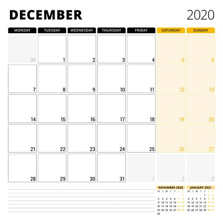 Calendar planner for December 2020. Stationery design template. Week starts on Monday.
